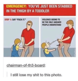 Shit, Fuck, and Fuck It: EMERGENCY: YOU'VE JUST BEEN STABBED  IN THE THIGH BY A TODDLER  STEP 1: SAY FUCK IT  VIOLENCE SEEMS TO  BE THE ONLY ANSWER  PEOPLE UNDERSTAND  chairman-of-th3-board:  I still lose my shit to this photo. Emergency