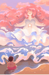 Target, Tumblr, and Blog: emiett: I finally made a Steven Universe print! I just want to draw big clouds and big hair and big ladies all the time always… This is available for purchase on my inprnt!