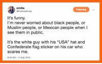 "Confederate Flag, Funny, and Muslim: emilia  @PoliticalEmilia  Following  It's funny.  I'm never worried about black people, or  Muslim people, or Mexican people when  see them in public.  It's the white guy with his ""USA"" hat and  Confederate flag sticker on his car who  scares me.  9:55 AM-14 Sep 2018"