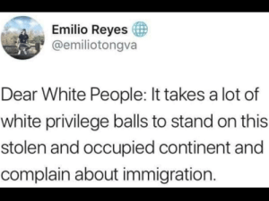 We stole this land fair and square, oh wait: Emilio Reyes  @emiliotongva  Dear White People: It takes a lot of  white privilege balls to stand on this  stolen and occupied continent and  complain about immigration. We stole this land fair and square, oh wait