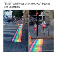 Cross, Lesbian, and Trendy: 'EMILY! don't cross this street, you're gonna  end up lesbian  2  lei.ying.lo *aggressively backflips across street*