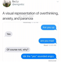 "Memes, Wow, and Anxiety: Emily  @emgrebz  A visual representation of overthinking,  anxiety, and paranoia  Are you up  Yes  are you mad  Read 12:00 AM  Of course not, why?  Idk the ""yes"" sounded angry  Delivered Wow"