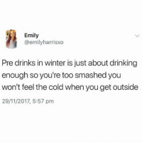Utility: Emily  @emilyharrisxo  Pre drinks in winter is just about drinking  enough so you're too smashed you  won't feel the cold when you get outside  29/11/2017, 5:57 pm Utility