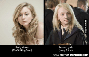 Are they twins?both of them are lovelyomg-humor.tumblr.com: Emily Kinney  (The Walking Dead)  Evanna Lynch  (Harry Potter)  FUNNY STUFF ON MEMEPIX.COM  MEMEPIX.COM Are they twins?both of them are lovelyomg-humor.tumblr.com