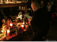 """Donald Trump, Memes, and Supreme: Emily Molli/NurPhoto via Getty Images Witches, Wiccans, and locals gathered at a metaphysical book store in Brooklyn to perform a """"hex ritual"""" on Supreme Court Justice Brett Kavanaugh, President Donald Trump, and Senator Mitch McConnell."""