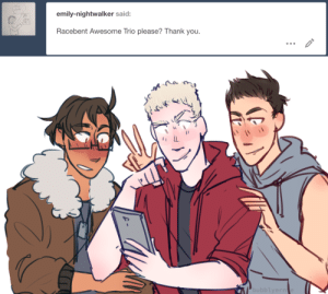 Target, Tumblr, and Thank You: emily-nightwalker said:  Racebent Awesome Trio please? Thank you   bubblye ask-art-student-prussia:  lads