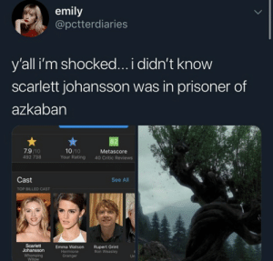 granger: emily  @pctterdiaries  y'all i'm shocked... i didn't know  scarlett johansson was in prisoner of  azkaban  82  7.9/10  10/10  Your Rating  Metascore  492 738  40 Critic Reviews  Cast  See All  TOP BILLED CAST  Scarlett  Johansson  Rupert Grint  Ron Weasley  Emma Watson  Hermione  Granger  Whomping  Willow  Un