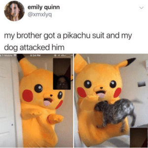 Dank, Memes, and Pikachu: emily quinn  @xmxlyq  my brother got a pikachu suit and my  dog attacked him  T-Mobile  6:34 PM Eevee used Tackle! by Deekless MORE MEMES