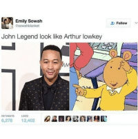 He lowkey does 😂😱: Emily Sowah  asowahlblanket  John Legend look like Arthur lowkey  6,278  12,402  Follow He lowkey does 😂😱