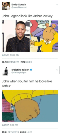 "Arthur, John Legend, and Memes: Emily Sowah  @sowahblanket  John Legend look like Arthur lowkey  2/19/17, 10:03 PM  70.5K RETWEETS 213K LIKES   christine teigen  @chrissyteigen  John when you tell him he looks like  Arthur  2/21/17, 3:50 PM  11.9K RETWEETS 23.3K LIKES <p><a href=""http://weavemama.tumblr.com/post/157540914173/this-is-the-best-usage-of-memes-ive-ever-seen"" class=""tumblr_blog"" target=""_blank"">weavemama</a>:</p> <blockquote><p>THIS IS THE BEST USAGE OF MEMES I'VE EVER SEEN </p></blockquote>"