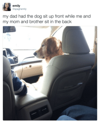 Honestly, I am literally your dad.: emily  @spaghemily  my dad had the dog sit up front while me and  my mom and brother sit in the back Honestly, I am literally your dad.