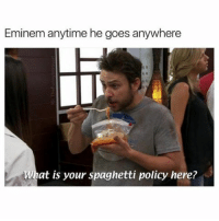 Eminem, Memes, and Spaghetti: Eminem anytime he goes anywhere  uat is your spaghetti policy nere? 😂😂 (@thefunnyintrovert)