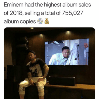 Eminem, Friends, and Memes: Eminem had the highest album sales  of 2018, selling a total of 755,027  album copies &š eminem had the highest album sales of 2018 😳🔥 Did you like his project kamikaze ❓ ➡️DM YOUR FRIENDS ➡️Follow @bars