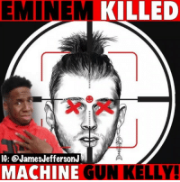 Eminem, Machine Gun Kelly, and Memes: EMINEM KILLED  IG: @JamesJeffersonJ  MACHINE GUN KELLY Eminem just killed Machine Gun Kelly!! 🐸☕️ . . Eminem mgk killshot slimshady machinegunkelly rapdevil rapgod