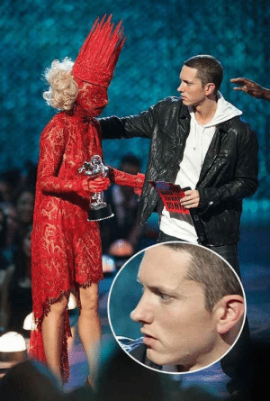 Eminem meeting Lady Gaga and wondering if he took his drugs: Eminem meeting Lady Gaga and wondering if he took his drugs
