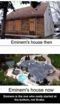 Memes, 🤖, and Eminems-House: Eminem's house then  Eminem's house now  Eminem is the one who really started at  the bottom, not Drake. http://t.co/RSOAtvGclQ