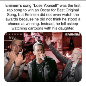 "Eminem's wholesome: Eminem's song ""Lose Yourself"" was the first  rap song to win an Oscar for Best Original  Song, but Eminem did not even watch the  awards because he did not think he stood a  chance at winning. Instead, he fell asleep  watching cartoons with his daughter.  E MINE M  @Sci  EMINEM  EMINEM  IN Eminem's wholesome"