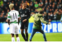 Celtic fan trying to attack Mbappe after he scored at Parkhead tonight.: Emirares  PRO Celtic fan trying to attack Mbappe after he scored at Parkhead tonight.