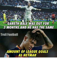 Football, Goals, and Memes: Emirates  ETH BALE WAS OUT FOR  3 MONTHS AND HE HAS THE SAME  Troll Football  AMOUNT OF LEAGUE GOALS  AS NEYMAR Thoughts❓
