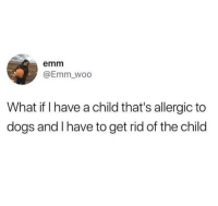 Dogs, Woo, and What: emm  @Emm_woo  What if I have a child that's allergic to  dogs and l have to get rid of the child