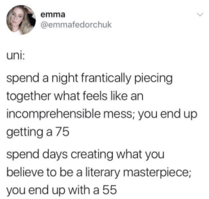 masterpiece: emma  @emmafedorchuk  uni:  spend a night frantically piecing  together what feels like an  incomprehensible mess; you end up  getting a 75  spend days creating what you  believe to be a literary masterpiece;  you end up witha 55