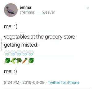 Iphone, Twitter, and MeIRL: emma  @emmaweaver  me  ,vegetables at the grocery store  getting misted:  0.  me.  8:24 PM 2019-03-09 Twitter for iPhone Meirl