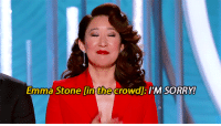 andremichaux:  Sandra Oh  Andy Samberg Monologue (x): Emma lint crowdl TM SORRY  Stone  the andremichaux:  Sandra Oh  Andy Samberg Monologue (x)