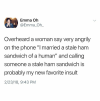 """Memes, Phone, and Hell: Emma Oh  @Emma Oh  Overheard a woman say very angrily  on the phone """"l married a stale ham  sandwich of a human"""" and calling  someone a stale ham sandwich is  probably my new favorite insult  2/23/18, 9:43 PM Why the hell arent u following @kalesaladquotes yet"""