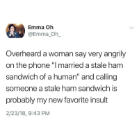 "Memes, Phone, and 🤖: Emma Oh  @Emma_Oh_  Overheard a woman say very angrily  on the phone ""I married a stale ham  sandwich of a human"" and calling  someone a stale ham sandwich is  probably my new favorite insult  2/23/18, 9:43 PM Brutal 😭😂"