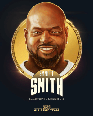 .@EmmittSmith22 is one of the 12 RBs selected to the #NFL100 All-Time Team!  ⭐️ 18,355 career rush yards (most ever) ⭐️ 1993 NFL MVP ⭐️ 3x Super Bowl Champion ⭐️ 4x Rushing Title Winner ('91, '92, '93, '95) https://t.co/FDVlKuPG32: EMMITT  SMITH  DALLAS COWBOYS ARIZONA CARDINALS  ALL-TIME TEAM  HALL OF FAME RUNNING BACK 1990-2004  MOST CAREER RUSH YARDS IN NFL HISTORY (18,355) .@EmmittSmith22 is one of the 12 RBs selected to the #NFL100 All-Time Team!  ⭐️ 18,355 career rush yards (most ever) ⭐️ 1993 NFL MVP ⭐️ 3x Super Bowl Champion ⭐️ 4x Rushing Title Winner ('91, '92, '93, '95) https://t.co/FDVlKuPG32