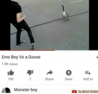 "Dank, Emo, and Meme: Emo Boy Vs a Goose  1.9K views  180  Share  Save  Add to  Monster boy  SUBSCRIBE <p>I hope he wins. via /r/dank_meme <a href=""http://ift.tt/2H73njh"">http://ift.tt/2H73njh</a></p>"