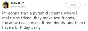 meirl: EMO SLUT  Follow  @princess_labia  im gonna start a pyramid scheme where i  make one friend, they make two friends,  those two each make three friends, and then i  have a birthday party meirl