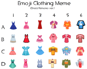Clothes, Emoji, and Future: Emoji Clothing Meme  (Dress/Kimono ver.)  2  3  4  5  6 monokuro-adventures:  I love art memes and emoji clothes are always so fun to draw, so I decided to make one of my own! Feel free to send in a character and a letter + number!I might make another in the future so stay tuned.