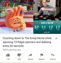 Emoji, Movie, and Add: EMOJI MOVIE  57 11 17 17  CONOS  July 28, 2017  Counting down to The Emoji Movie while A  spinning 15 fidget spinners and dabbing  every 60 seconds  9,234 watching now  11K  356  Share Report Add to