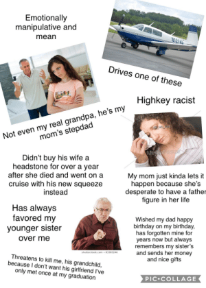 """Birthday, Dad, and Desperate: Emotionally  manipulative and  mean  21AS  Drives one of these  Highkey racist  Not even my real grandpa, he's my  mom's stepdad  NS MG 5233  MegiaFocus  Didn't buy his wife a  headstone for over a year  after she died and went on a  cruise with his new squeeze  instead  My mom just kinda lets it  happen because she's  desperate to have a father  figure in her life  Has always  favored my  younger sister  Wished my dad happy  birthday on my birthday,  has forgotten mine for  years now but always  remembers my sister's  and sends her money  and nice gifts  over me  shutterstock.com 83383246  Threatens to kill me, his grandchild,  because I don't want his girlfriend I've  only met once at my graduation  PIC COLLAGE My emotionally abusive estranged """"grandfather"""" Carl starter pack"""