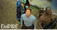 Memes, 🤖, and Brand: EMPIRE Another brand new still from GUARDIANS OF THE GALAXY, VOL. 2 shows Gamora, Nebula, Peter Quill, Rocket, and Drax together (with Baby Groot trying his best to climb down to the ground)  (Brian)