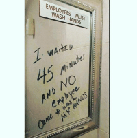 False advertisement!!! 🤔😤 (Rp @gameofloans): EMPLOYEES MUST  WASH HANDS  9  WAITED  45  NO False advertisement!!! 🤔😤 (Rp @gameofloans)