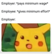 Memes, Minimum Wage, and 🤖: Employer: *pays minimum wage*  Employee: *gives minimum effort*  Employer: