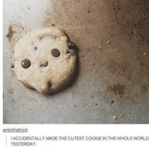 Im gonna bake something tomorrow now :): emtothethird:  IACCIDENTALLY MADE THE CUTEST COOKIE IN THE WHOLE WORLD  YESTERDAY Im gonna bake something tomorrow now :)