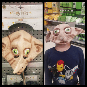 Mask, Forest, and Child: en  forest forbirde  DOBBY  Child Mask Masque pour Enfant  Har ofter Thanks, I hate Dobby!