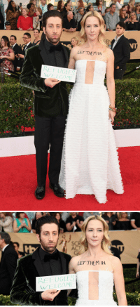 America, Nerd, and Parents: EN  LET THEM IN  RE FUGEES  WELCOM   LET THEMIN  REFUGEES  WELCOM| erykahisnotokay: nerd-utopia: Simon Helberg and Jocelyn Towne attend the 23rd Annual Screen Actors Guild Awards.(📷 Alberto E. Rodriguez/Getty Images North America)  Simon Helberg is Ashkenazi Jewish and his father was born in Germany to Holocaust survivor parents. Simon has been retweeting the names and images of Jewish immigrantswho were turned away from the US during the Nazi Occupation of Germany, effectively sent to their deaths.