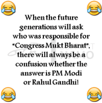 """Congress Mukt Bharat! :D: en the future  generations will ask  who was responsible for  """"Congress Mukt Bharat"""".  there will always be a  confusion whether the  answer is PM Modi  or Rahul Gandhi! Congress Mukt Bharat! :D"""