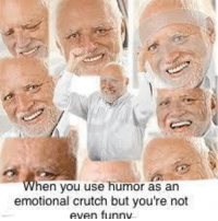Funny, MeIRL, and You: en you use humor as an  emotional crutch but you're not  even funny meirl