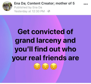 Real Friends: Ena Da; Content Creator; mother of 5...  Published by Ena Da  Yesterday at 12:30 PM  Get convicted of  grand larceny and  you'll find out who  your real friends are
