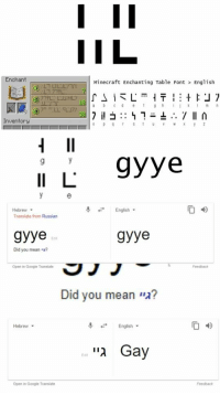 font: Enchant  Minecraft Enchanting Table Font  English  Inventory  I 9yye  Hebrew  Translate from Russian  English  gyye  gyye  Ece  Did you mean a?  Open in Google Translate  Feedback  Did you mean גי?  English.  04)  Hebrew  Edit  Open in Google Translate  Feedbacik