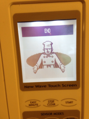 garbage-empress: you have unlocked the microwave's good ending. : END  New Wave Touch Screen  START  MINUTECLEAR  SENSOR MODES garbage-empress: you have unlocked the microwave's good ending.