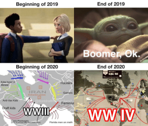 We have so much ahead of us...: End of 2019  Beginning of 2019  Boomer, Ok.  Beginning of 2020  End of 2020  NavWar Map We fight a  No.6  GLOBAL WAR  Kyles hyped on  Monster  Hackers  IRAN  Gamers  Extraction Zones  MORH PACe  @dontdraftiemesAww3  Feminist  Anti-Vax Kids  Draft kids  WWI  WWIV  Care-Packages  (ETA 10 minutes after first initial attack]  Florida men on meth  SOU ATane We have so much ahead of us...