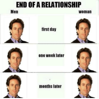 One, Day, and Woman: END OF A RELATIONSHIP  Men  woman  first day  one week later  months later