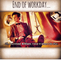 Love, Memes, and Brilliant: END OF WORKDAY  Oh,i survived. Brilliant. I love it when I do that.