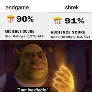 "The power of the sun in the palm of my hand by Meat-Lover-69 MORE MEMES: endgame  shrek  90%  91%  AUDIENCE SCORE  AUDIENCE SCORE  User Ratings: 1,378,744  User Ratings: 62,764  ""I am inevitable."" The power of the sun in the palm of my hand by Meat-Lover-69 MORE MEMES"